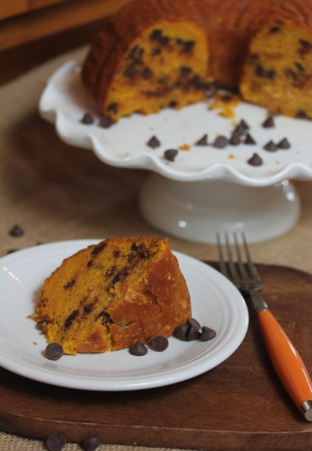 Easy Chocolate Chip Pumpkin Bundt Cake-