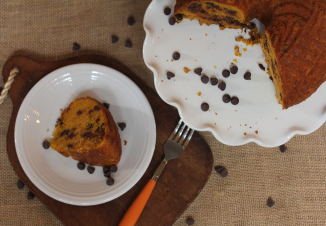 Easy Chocolate Chip Pumpkin Bundt Cake