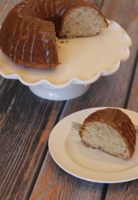 Gluten Free Banana Bundt Cake with Maple Glaze-