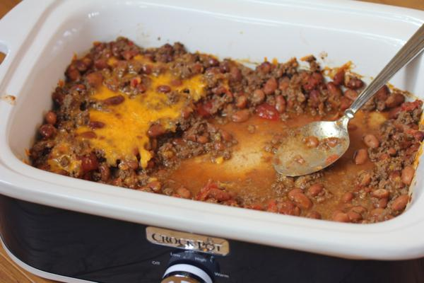 Crock Pot Beef and Bean Casserole Recipe {Five Ingredients or Less}