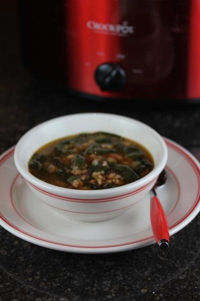 Gluten Free White Chili with Sausage and Spinach
