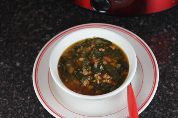 Gluten Free White Chili with Sausage and Spinach_