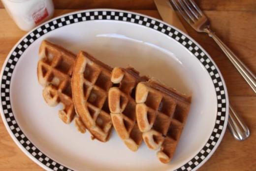 gluten free brown sugar waffles on a plate