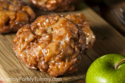 Homemade Glazed Apple Fritters with Cinnamon and Apples