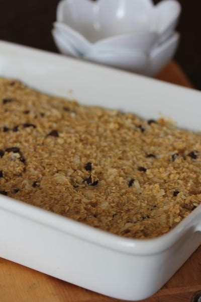 baked oatmeal in a white dish