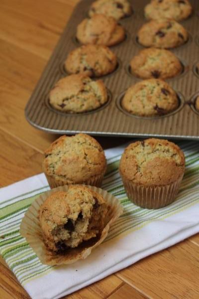 Chocolate Chip Zucchini Oatmeal Muffins-