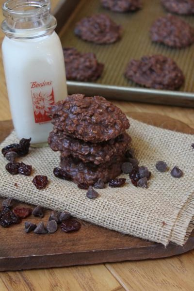 Chocolate Cherry No Bake Cookies__