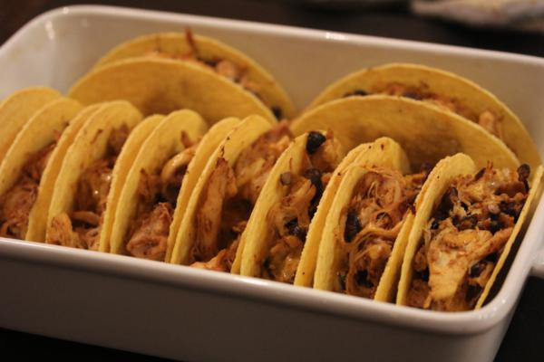 Chicken and Black Bean Oven Tacos