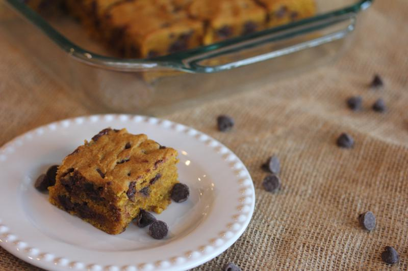 Chocolate Chip Pumpkin Bars-
