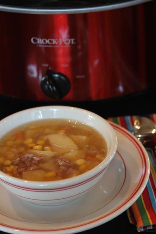 Slow Cooked Sausage Potato Corn Soup