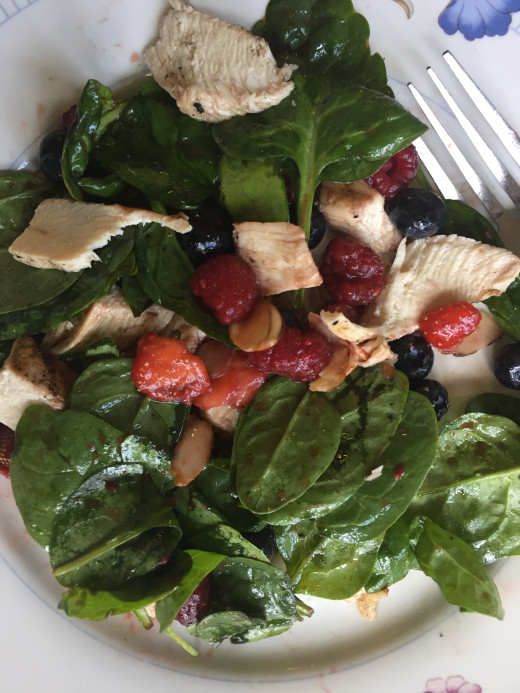 Triple Berry Chicken Almond Spinach Salad