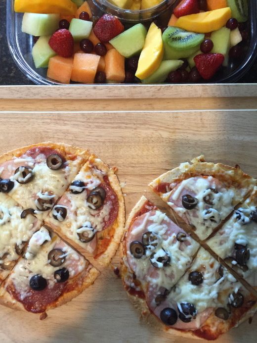 Pizza and Fruit