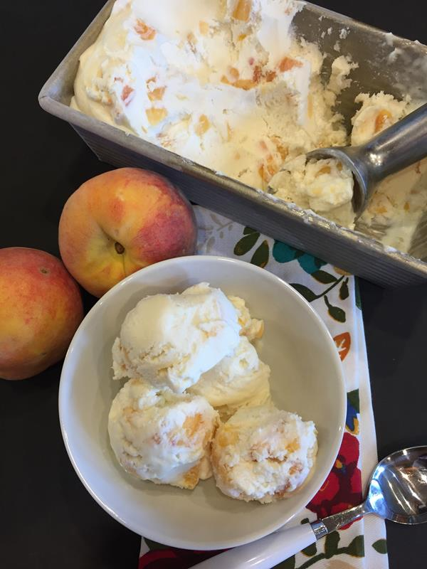 No- Churn Peach Ice Cream