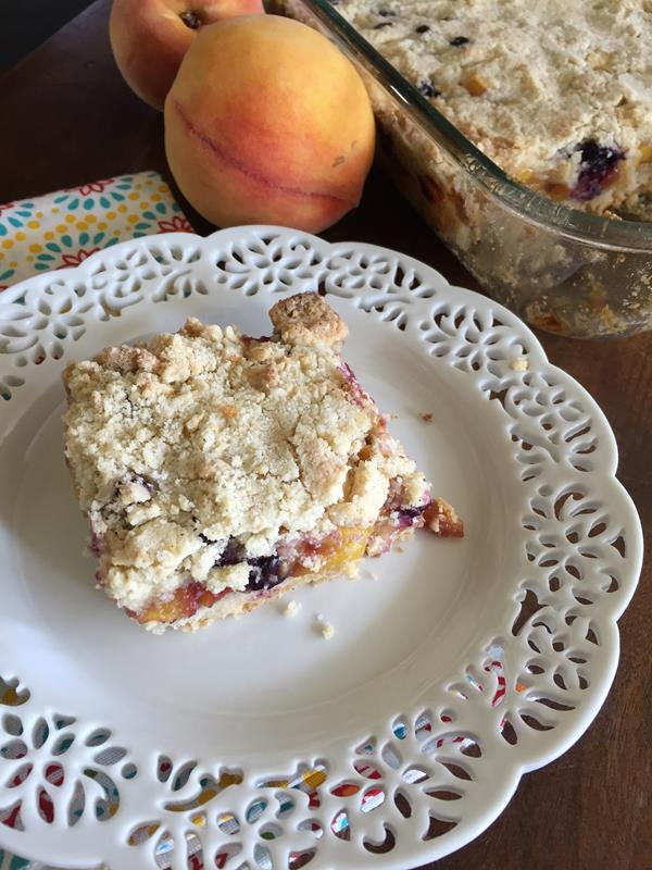 Blueberry Peach Crumb Bars