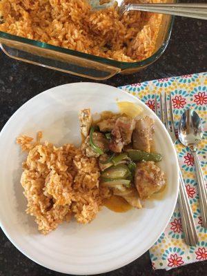 4 Ingredient Baked Enchilada Rice