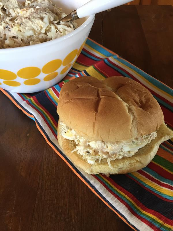 Classic Chicken Salad Sandwich on a hamburger bun