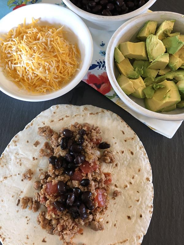 Sausage Tacos with black beans