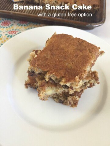 Banana Snack Cake with a Gluten Free Option