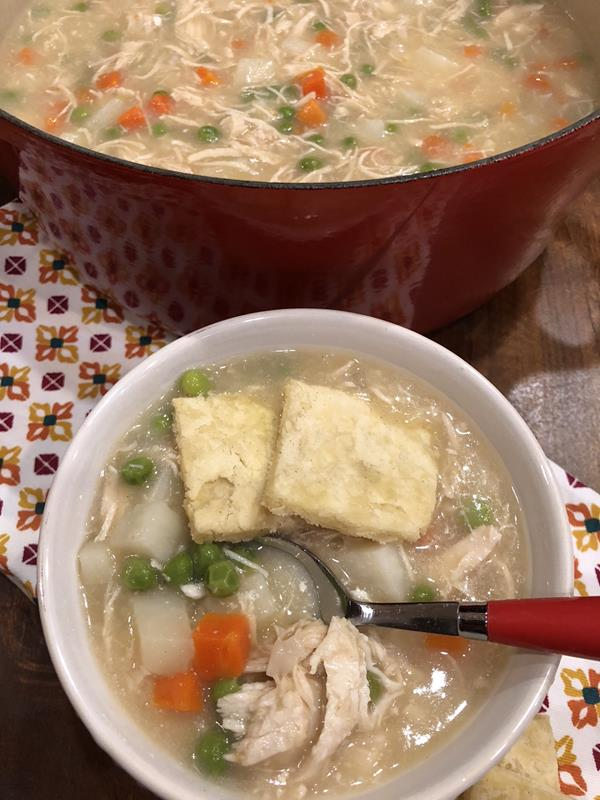 Chicken Pot Pie Soup in a bowl