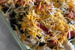 Layered Chicken Taco Salad in 9x13 pan