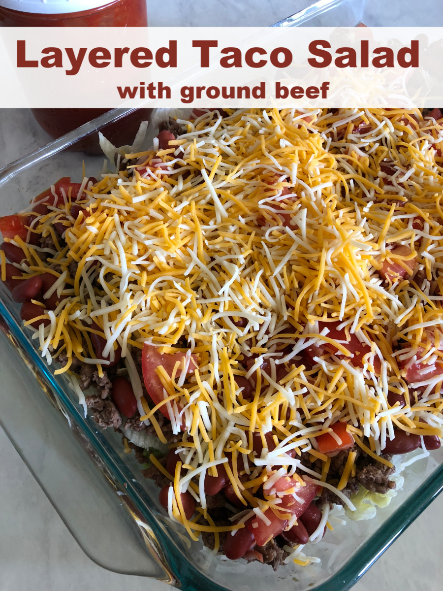 Layered Taco Salad with Ground Beef