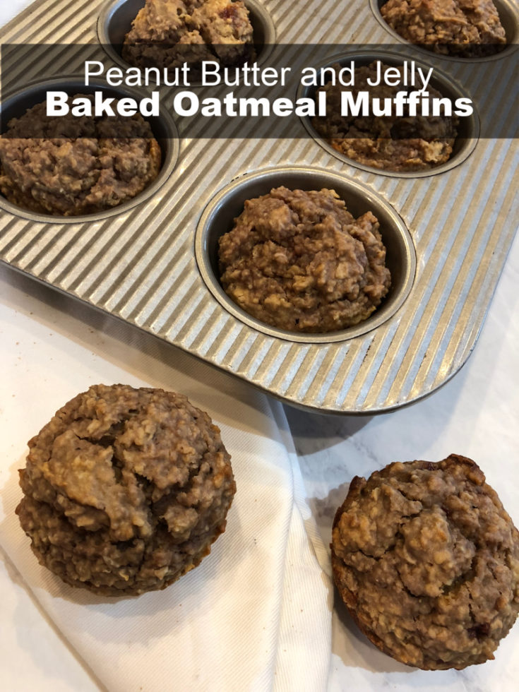 Peanut Butter and Jelly Baked Oatmeal Muffins