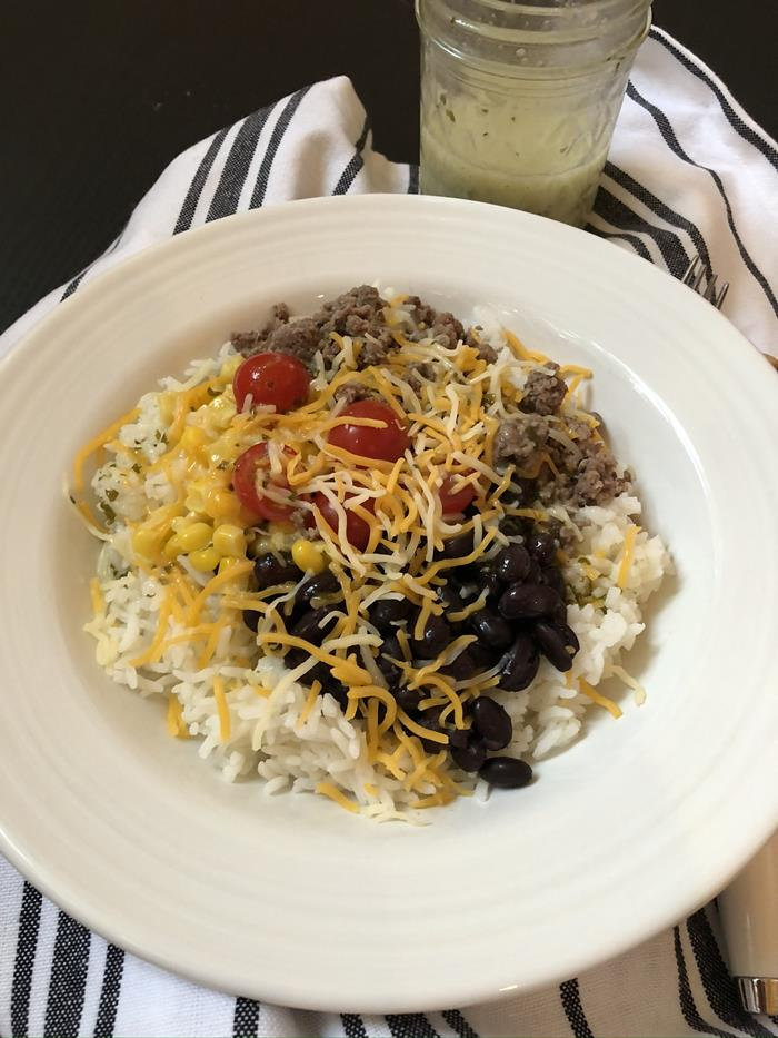 Burrito Bowl with Cilantro Lime Dressing Beef and Beans