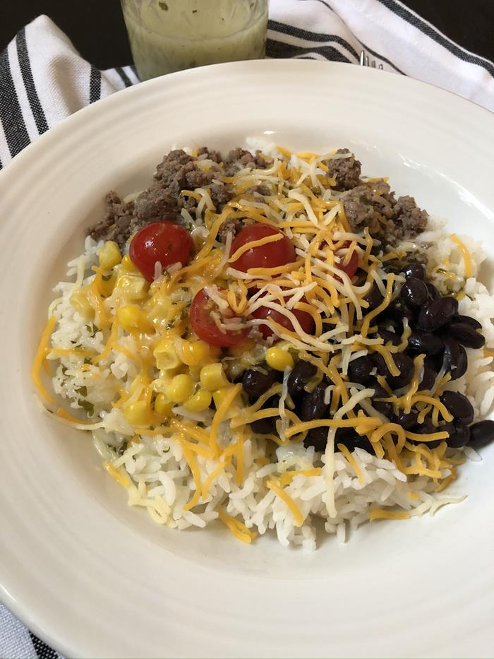 Burrito Bowl with Cilantro Lime Dressing and Black Beans