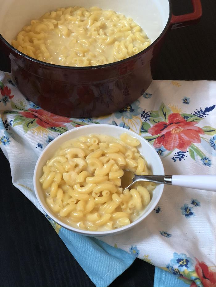 Stovetop Macaroni and Cheese in a bowl