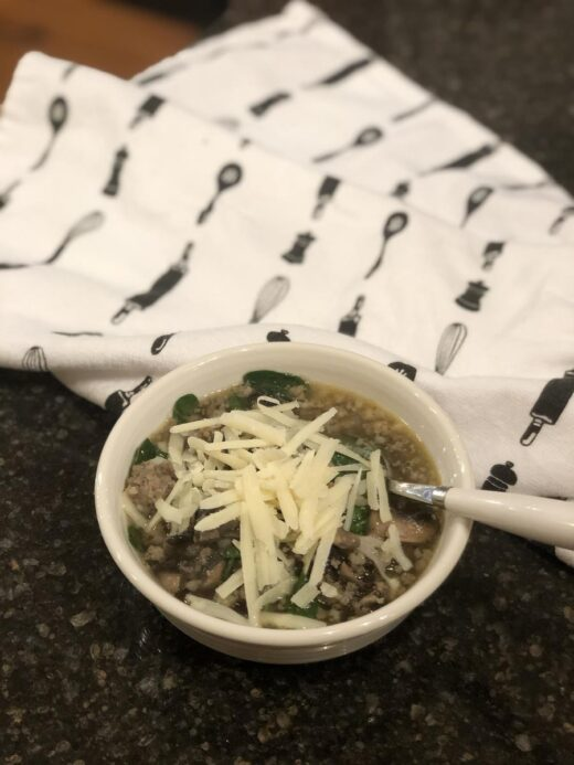 Sausage Spinach Soup without Beans in bowl