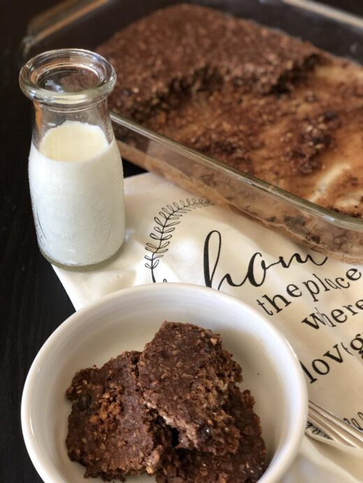 Double Chocolate Baked Oatmeal with milk