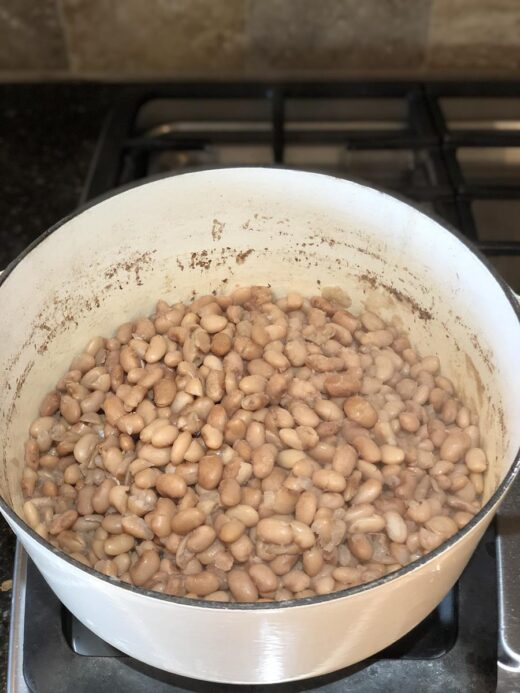 Dutch Oven Refried Beans Before Mashing