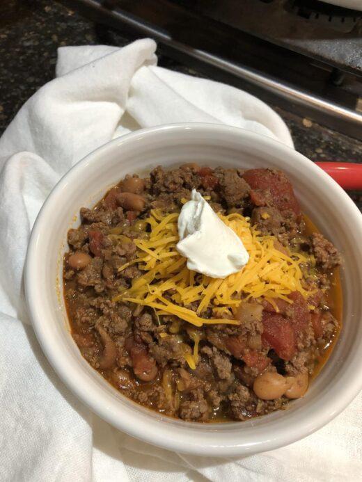 Martha Stewart's Chili Recipe in a bowl