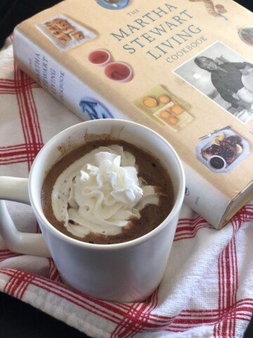 Martha Stewart's Hot Chocolate with whipping cream and cookbook
