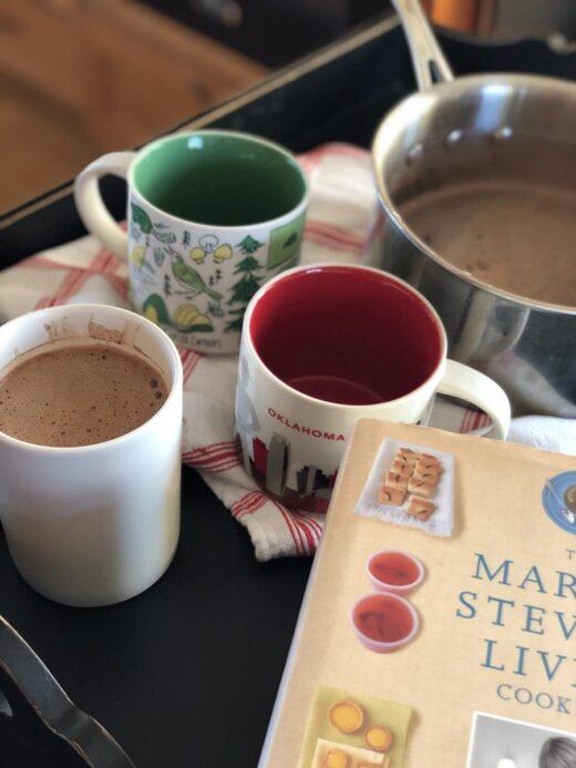 Martha Stewart's Hot Cocoa in mug with cookbook