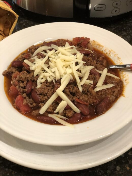 Crock Pot Chili in a bowl