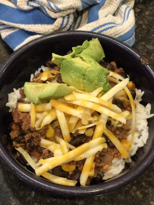 Dinner Taco Soup over Rice