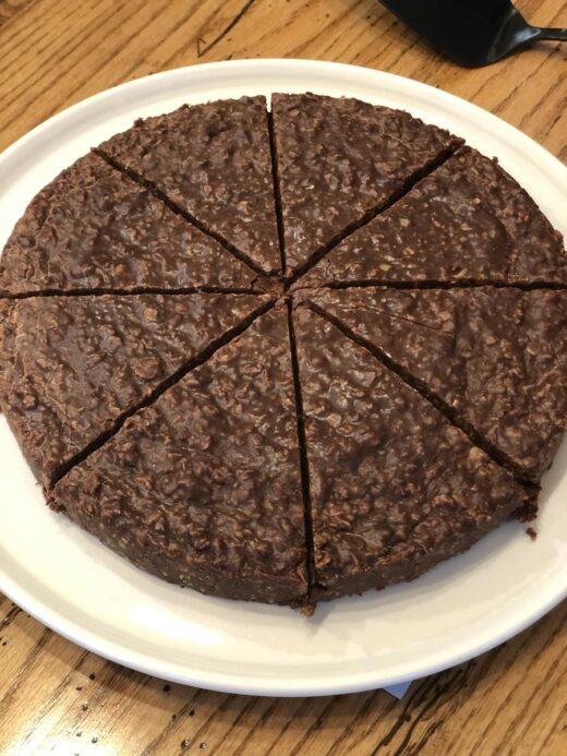 No Bake Cookie Cake Cut Into Pieces