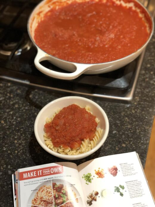 Pasta sauce in a pan on the stove