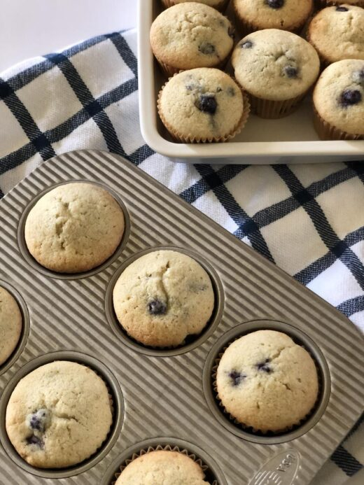 Martha Stewart's Blueberry Muffins in pan