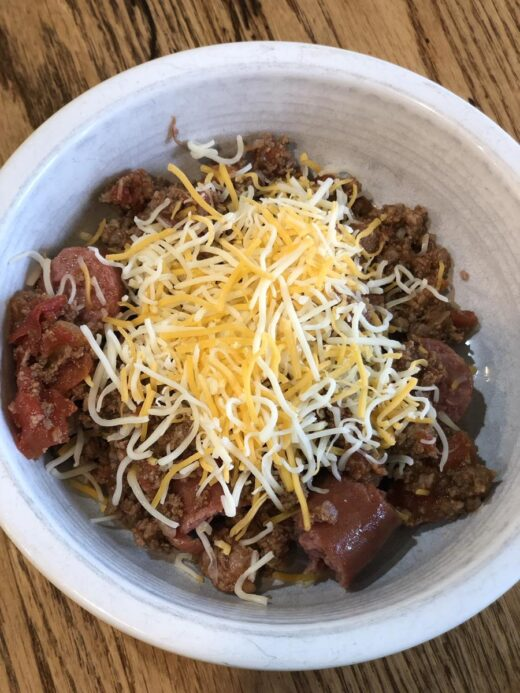 Chili and cheese in a bowl