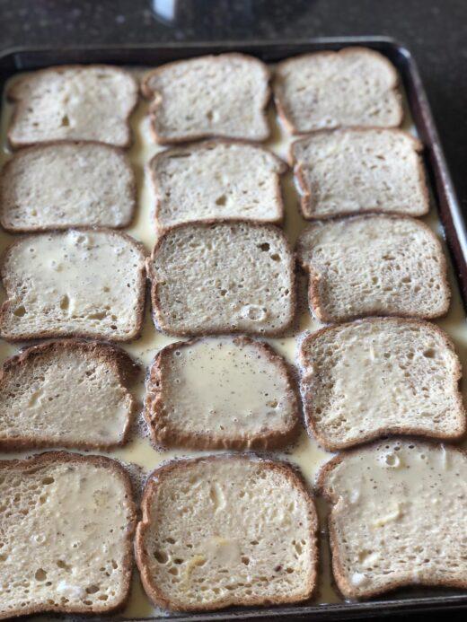 Martha Stewart's Classic French Toast bread soaking